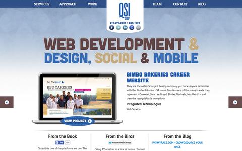 Screenshot of Home Page qsigroup.com - Dallas Website Design : Web Development : Web Systems : Social Media : Mobile : QuickSilver Interactive Group : QSI - captured Jan. 27, 2015