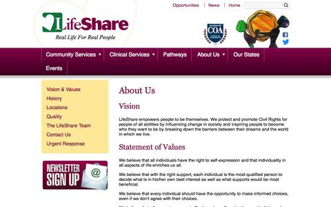 Screenshot of About Page lifeshareusa.com - About Us - captured Oct. 2, 2014