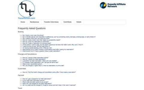 Screenshot of FAQ Page travelterrain.com - FAQ - captured Oct. 7, 2014