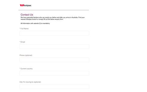 Screenshot of Landing Page westpac.com.au - Contact us   Westpac Australia's First Bank > Australia's First Bank - captured Aug. 13, 2016