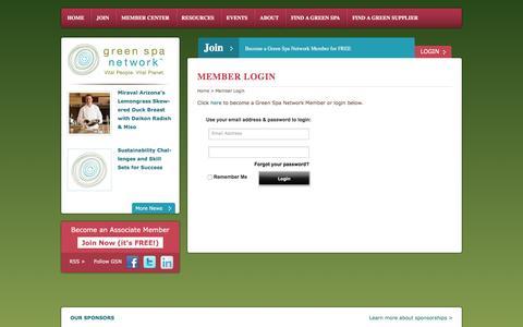 Screenshot of Login Page greenspanetwork.org - Member Login - Green Spa Network - captured July 19, 2016
