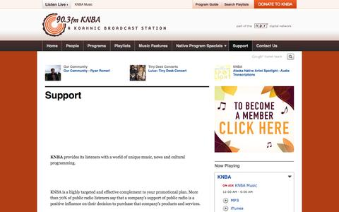 Screenshot of Support Page knba.org - Support | knba - captured Oct. 6, 2014