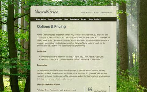 Screenshot of Pricing Page naturalgracefunerals.com - Options & Pricing | Natural Grace - captured Nov. 3, 2014