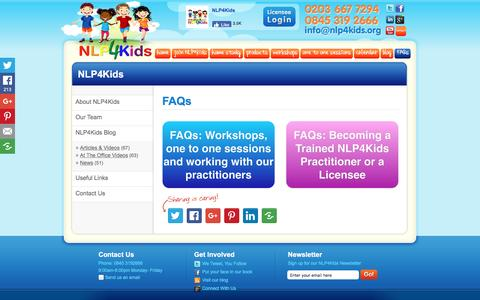 Screenshot of FAQ Page nlp4kids.org - FAQs - captured Nov. 30, 2016
