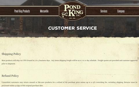 Screenshot of Support Page pondking.com - Customer Service - Pond King - captured Sept. 28, 2018