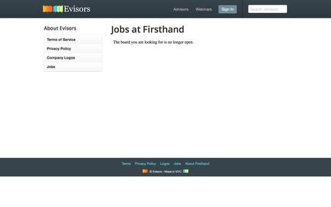 Screenshot of Jobs Page evisors.com - Jobs at Firsthand – Evisors - captured Feb. 23, 2017