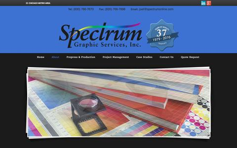 Screenshot of About Page spectrumonline.com - About | Wood Dale Printing, Catalogs and Calendars - captured June 23, 2016