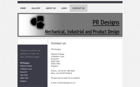 Screenshot of Contact Page prdesigns.co.uk - PR Designs - Contact Us - captured Nov. 9, 2018