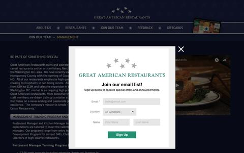 Screenshot of Team Page greatamericanrestaurants.com - Management | gar - captured July 24, 2018