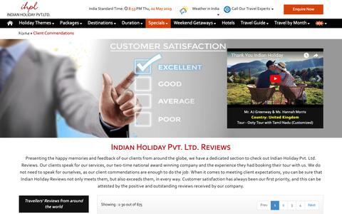 Screenshot of Testimonials Page indianholiday.com - Indian Holiday Pvt Ltd Reviews | Indian Holiday (IHPL) Client Reviews - captured May 2, 2019