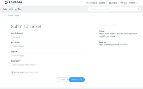 Screenshot of Contact Page powtoon.com - Powtoon - captured Oct. 24, 2018