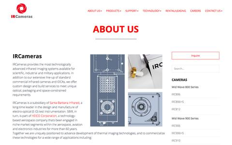 Screenshot of About Page ircameras.com - Infrared Cameras & Imaging Systems- About Us IRCameras - captured July 25, 2018