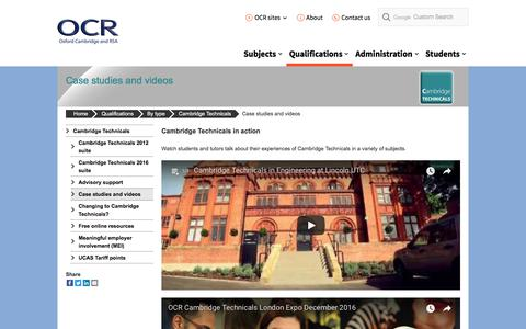 Screenshot of Case Studies Page ocr.org.uk - Cambridge Technicals case studies - OCR - captured Jan. 19, 2018