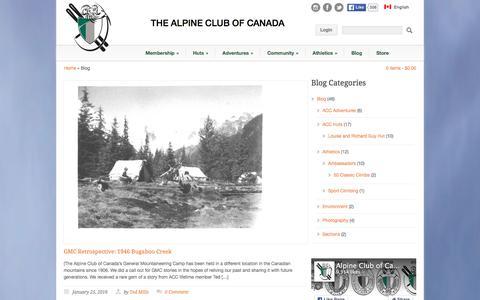 Screenshot of Blog alpineclubofcanada.ca - Alpine Club of Canada  » Blog - captured Jan. 30, 2016