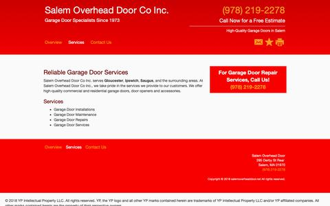 Screenshot of Services Page salemoverheaddoor.net - Garage Door Services - Salem Overhead Door Co Inc. - Salem - MA - captured Nov. 2, 2018