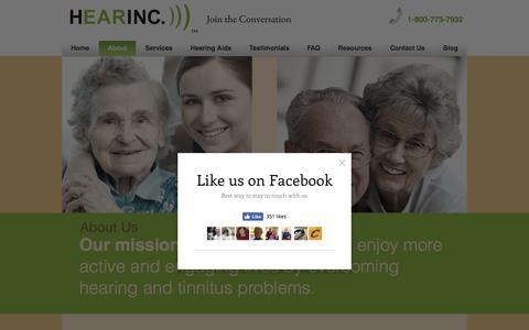 Screenshot of About Page hearinc.biz - About HEARINC. ))) - captured May 16, 2017