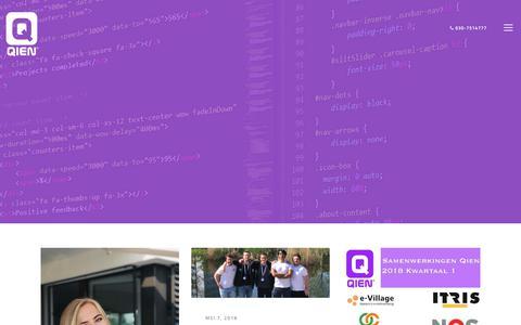 Screenshot of Blog qien.nl - Blog | Alles over Qien en onze IT-talenten - captured July 18, 2018