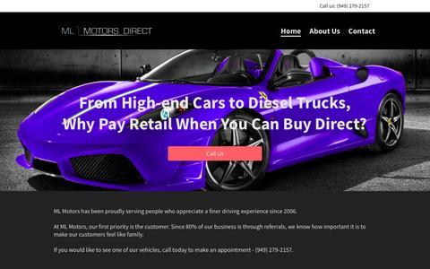 Screenshot of Home Page mlmotorsdirect.com - Home - captured Sept. 30, 2014