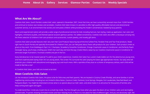 Screenshot of About Page cowlickssalon.com - About Us | Cowlicks Kids Salon - captured Aug. 26, 2017
