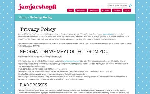 Screenshot of Privacy Page jamjarshop.com - Privacy Policy | Jam Jar Shop - captured Feb. 21, 2016