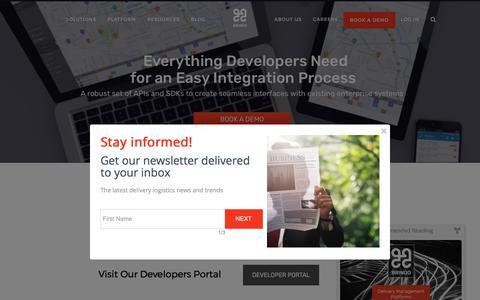 Screenshot of Developers Page bringg.com - Developers | Bringg - captured Oct. 9, 2017