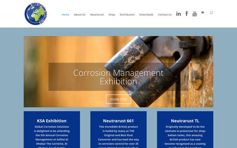 Screenshot of Home Page neutrarustuk.com - Global Corrosion Solutions | providing global solutions in proven corrosion control and preventative products, aiming to provide a 'one stop shop' for corrosion related paints, rust converters and coatings - captured Nov. 7, 2016