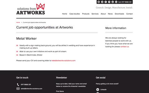 Screenshot of Jobs Page artworks-solutions.com - Current job opportunities at Artworks - Artworks Solutions Ltd - captured Oct. 4, 2014
