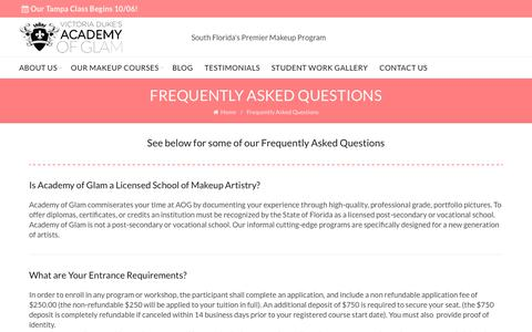 Screenshot of FAQ Page academyofglam.com - Frequently Asked Questions   Academy of Glam - captured Oct. 7, 2017