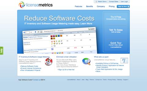 Screenshot of Home Page licensemetrics.com - LicenseMetrics - IT Inventory & Software Usage Metering made easy - captured Sept. 16, 2014