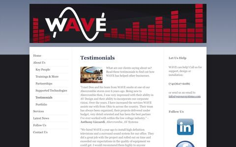 Screenshot of Testimonials Page waveavsystems.com - WAVE Audio Video Systems - Testimonials - captured Oct. 7, 2014