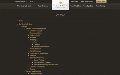 Screenshot of Site Map Page secretsresorts.com captured Aug. 25, 2017