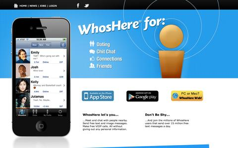 Screenshot of Home Page myrete.com - WhosHere | Take the Chance out of the Chance Encounter - captured Sept. 16, 2014