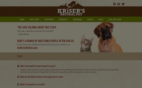 Screenshot of FAQ Page krisers.com - FAQ | Pet Health & Product Questions | Kriser's - captured Jan. 26, 2016