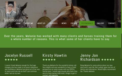 Screenshot of Testimonials Page instinctivehorsetraining.co.uk - Instinctive Horse Training - Testimonials - captured Sept. 19, 2018