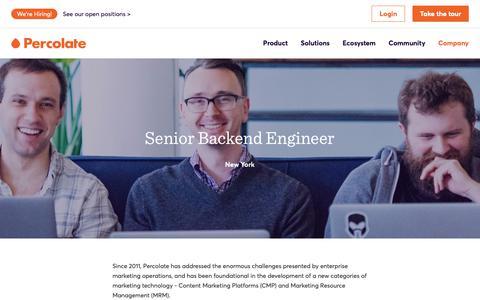 Screenshot of Jobs Page percolate.com - Senior Backend Engineer | Careers @ Percolate - captured Feb. 11, 2019