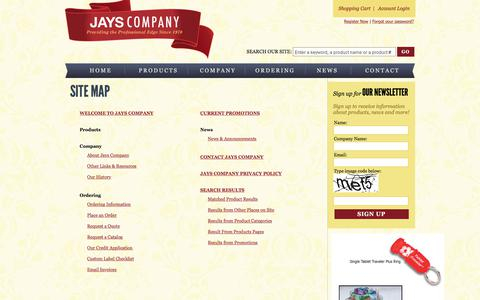 Screenshot of Site Map Page jayscompany.com - Site Map - captured Sept. 20, 2018