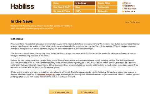 Screenshot of Press Page habiliss.com - Reviews - Virtual Assistants in the News | Habiliss - captured Sept. 8, 2016
