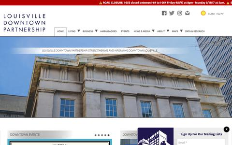 Screenshot of Home Page louisvilledowntown.org - Louisville Downtown Partnership: Strengthening and Informing Downtown Louisville - captured Sept. 9, 2017