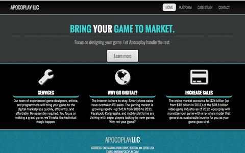 Screenshot of Home Page apocoplay.com - Apocoplay - Bringing your game to market - captured Sept. 19, 2014