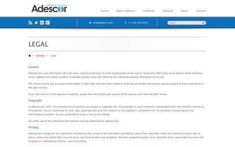 Screenshot of Terms Page adescor.com - Legal - - captured Nov. 2, 2014