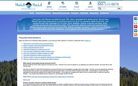 Screenshot of FAQ Page mitchellandmitchell.com - Frequently Asked Questions - Mitchell & Mitchell Insurance Agency - captured Oct. 7, 2014
