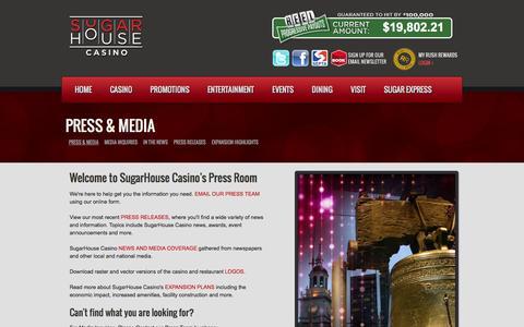 Screenshot of Press Page sugarhousecasino.com - SugarHouse Casino Press & Media | SugarHouse Casino - captured Sept. 30, 2014