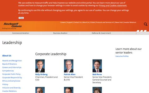 Screenshot of Team Page rockwellcollins.com - Leadership - captured May 18, 2018