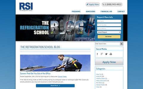 Screenshot of Blog refrigerationschool.com - HVAC, Refrigeration & Solar Industry News and Training Information | Refrigeration School, Inc. (RSI) - captured Oct. 6, 2014