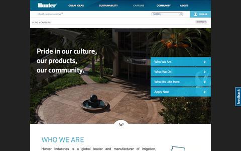 Screenshot of Jobs Page hunterindustries.com - Careers   Hunter Industries Corporate - captured July 16, 2017