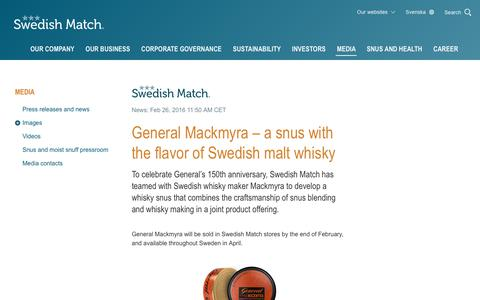 Screenshot of Press Page swedishmatch.com - Swedish Match - General Mackmyra – a snus with the flavor of Swedish malt whisky - captured Nov. 1, 2018