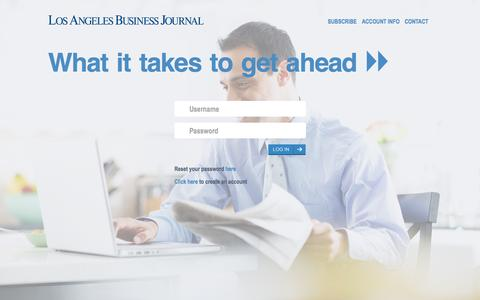 Screenshot of Login Page labusinessjournal.com - Login - captured Nov. 2, 2015