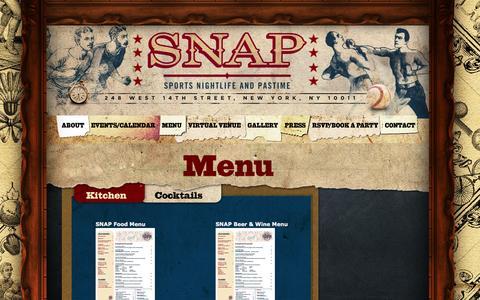 Screenshot of Menu Page snapsportsbar.com - SNAP Sports Bar | 248 West 14th Street, New York, NY 10011 - captured Sept. 30, 2014