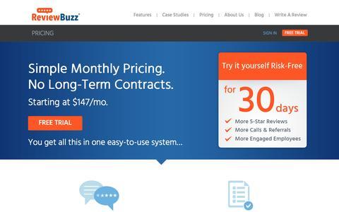 Screenshot of Pricing Page reviewbuzz.com - Review Management Tool Pricing | ReviewBuzz - captured Sept. 5, 2016