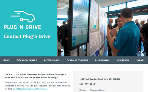 Screenshot of Contact Page plugndrive.ca - Contact Plug'n Drive – Plug'n Drive - captured July 19, 2018